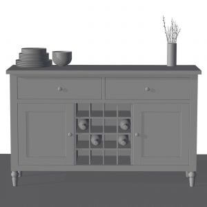 Raw 3D Rendering Of A Side Cupboard